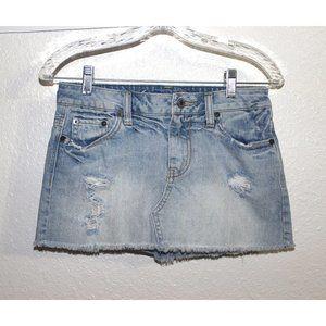 sz 0 AMERICAN EAGLE destroyed denim mini skirt